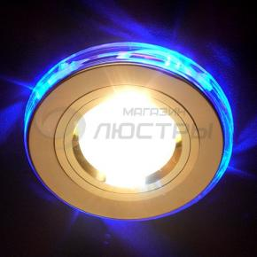 фото Точечный светильник 2060/2 GD/LED/BL (золото/синяя подсветка)