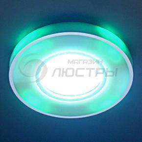фото Точечный светильник 2070/2 SL/GR/LED (серебро/зелёная подсветка)